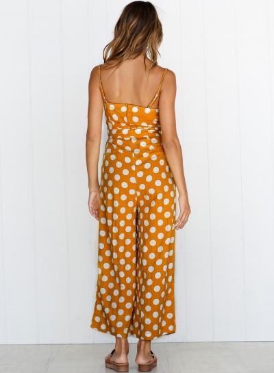 7e59cadc6ed3 Polka Dots Spaghetti Strap Waist Tie Wide Leg Pockets Jumpsuit - STYLESIMO. com