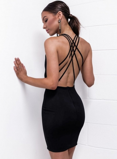 Sexy Solid Sleeveless V Neck Cross Straps Back Bodycon Dress With Zip