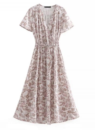 Boho Sweet Floral Printed Short Sleeve V Neck Elastic Waist Maxi Dress