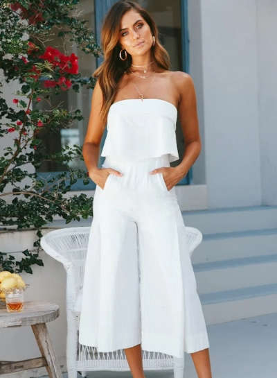 Casual Solid Off The Shoulder Backless Wide Leg Jumpsuit With Zip