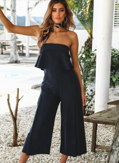 e3a81b31c47c Casual Solid Off The Shoulder Backless Wide Leg Capri Jumpsuit With ...