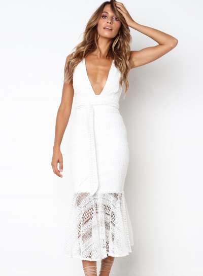 Fashion Sexy Solid Lace Splicing V Neck High Waist Mermaid Maxi Dress
