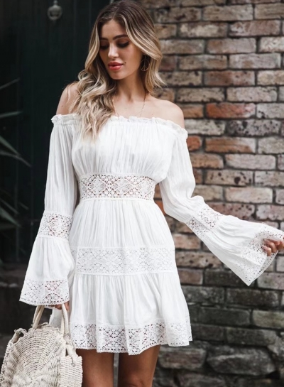 Fashion Sweet Solid Lace Slash Neck Long Flare Sleeve Hollow Out Dress
