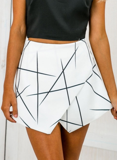 Casual Sexy Irregular Geometric Back Zip Wide Leg Skirt Shorts