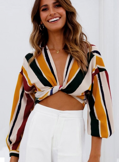 Fashion Sexy Striped Long Sleeve V Neck Front Knot Crop Top