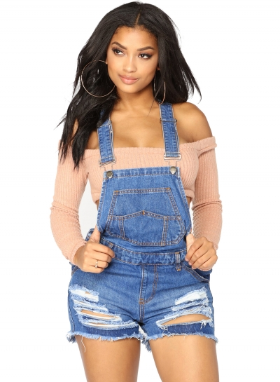 Casual Solid Slim Burrs Hem Ripped Denim Short Overall With Pockets
