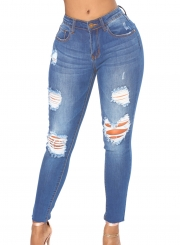 Wash Ripped Zipper Fly Pencil Jeans With Pockets