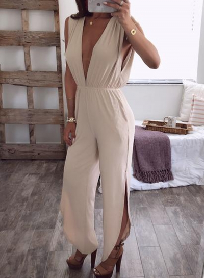 Fashion Irregular Solid Deep V Neck High Waist Slit Jumpsuit With Pockets