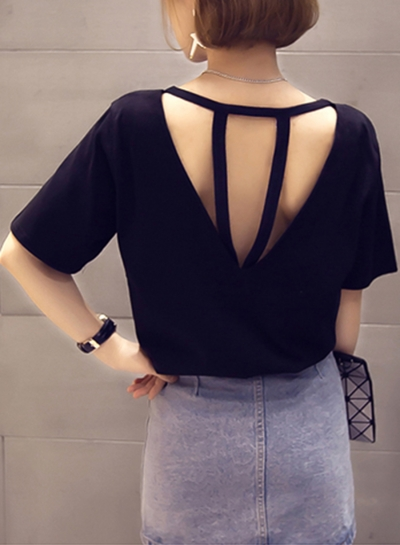 Summer Fashion Sexy Loose Solid Half Sleeve Round Neck Hollow Out Tee