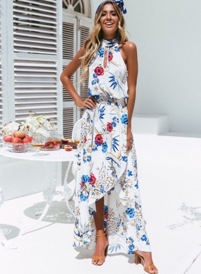 Summer Irregular Floral Printed Halter High Neck Elastic Waist Dress