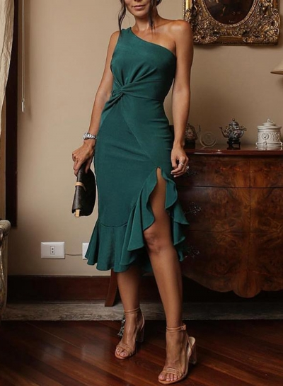 Green Sexy Irregular One Shoulder Ruffle Hem Evening Dress