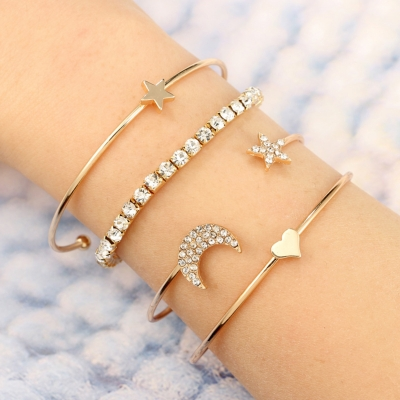Cute Full Drill Pentagram Heart-shaped  Four-piece Bracelet Suit