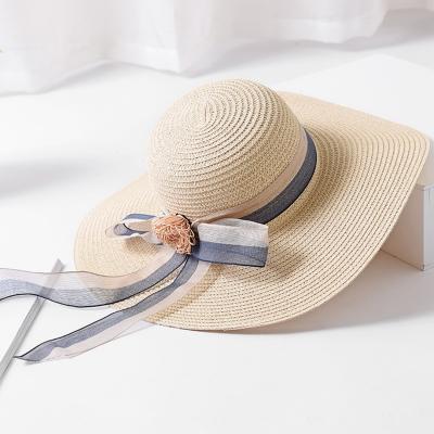 s' Summer Big Brim Straw Floppy Foldable Beach Sun Hat With Ribbon