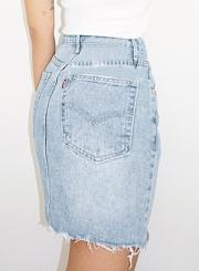80d5d64ab ... Casual Irregular Retro Wash High Waist Zipper Fly Denim Skirt With  Pockets ...