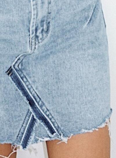 aaa5715f2 Casual Irregular Retro Wash High Waist Zipper Fly Denim Skirt With Pockets  - STYLESIMO.com
