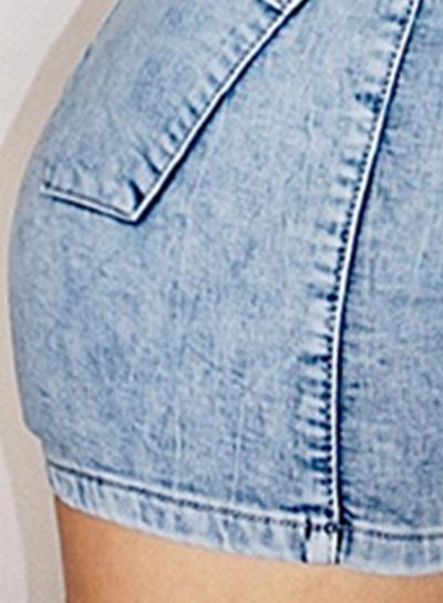 Fashion Slim Retro Wash High Wasit Zipper Fly Denim Shorts With Pockets stylesimo.com