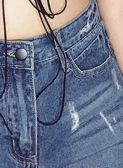 Casual Retro Wash High Waist Zipper Fly Side Slit Denim Shorts With Burrs stylesimo.com