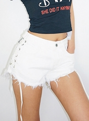 Summer Casual Slim Denim High Waist Zipper Fly Side Lace-Up Burrs Shorts