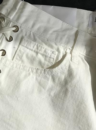 Summer Casual Slim Denim High Waist Zipper Fly Side Lace-Up Burrs Shorts stylesimo.com