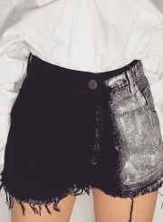 Fashion Loose High Waist Tassel Straight Denim Shorts With Pockets