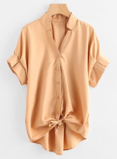 womens yellow button down shirt