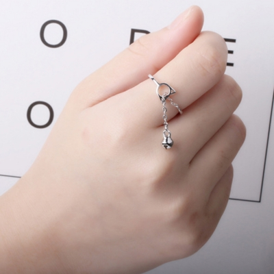 Fashion Concise Cute Hollow Out Cat Bell Tassel Open Ring STYLESIMO.com