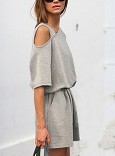 Casual Loose One Shoulder Elastic Waist Wide Leg Romper With Pockets