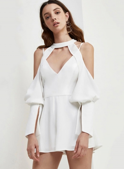 Sexy Solid Off The Shoulder V Neck High Waist Hollow Out Romper