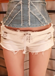 Summer Sexy Solid Low Waist Lace-Up Burrs Night Club Denim Burrs Shorts