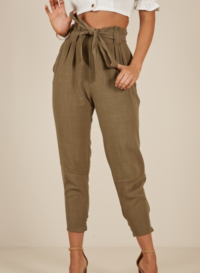 f2b2410995983f Casual Army Green High Waist Lace-Up Pencil Harem Pants With Pockets  stylesimo.com