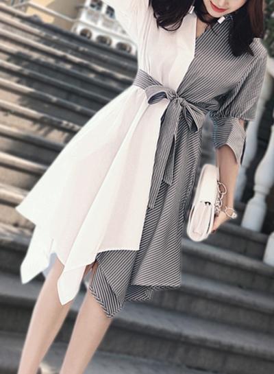 Fashion Irregular Striped Splicing Half Sleeve V Neck Waist Tie Dress