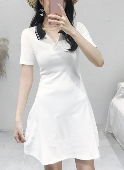 Summer Vintage Colorblock Turn-Down Collar Short Sleeve A-line Dress