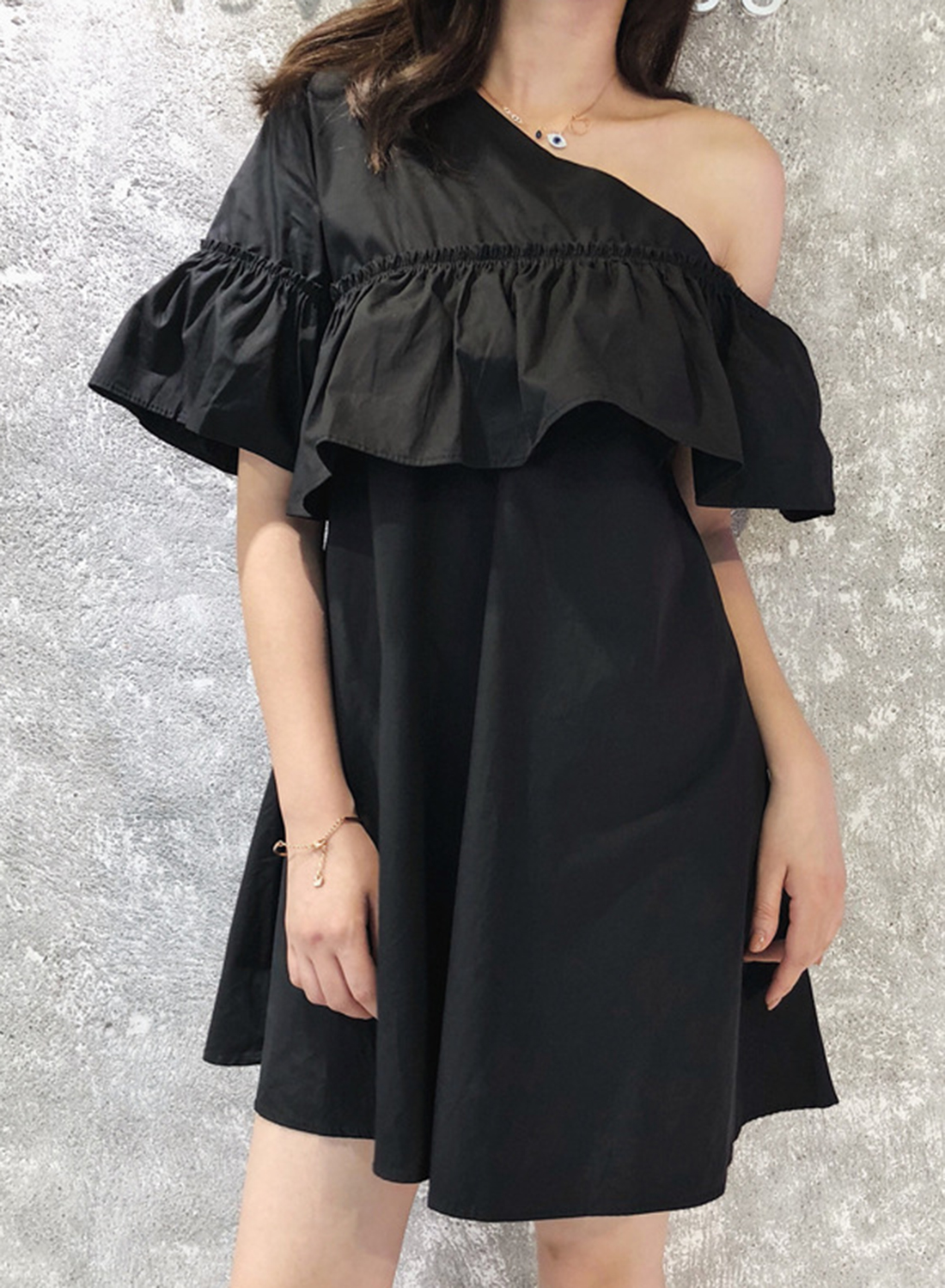 614c18fc279 Summer Sexy One Off Shoulder Ruffle Trim Short Sleeve Loose Solid Dress  STYLESIMO.com. Loading zoom