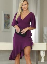 Sexy Slim V Neck Flare Sleeve Ruffle Trim Slit Cocktail Dress