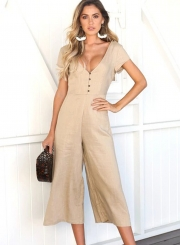 c02cb018316 ... Casual Short Sleeve V Neck Front Buttons Wide Leg Jumpsuit With Pockets  ...