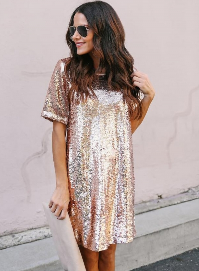 Fashion Loose Solid Short Sleeve Round Neck Sequins Tee Dress
