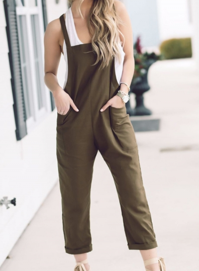 Fashion Casual Loose Solid Overalls Straight Jumpsuit With Pockets