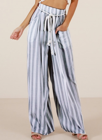 Casual Striped High Waist Straight Wide Leg Drawstring Loose Pants
