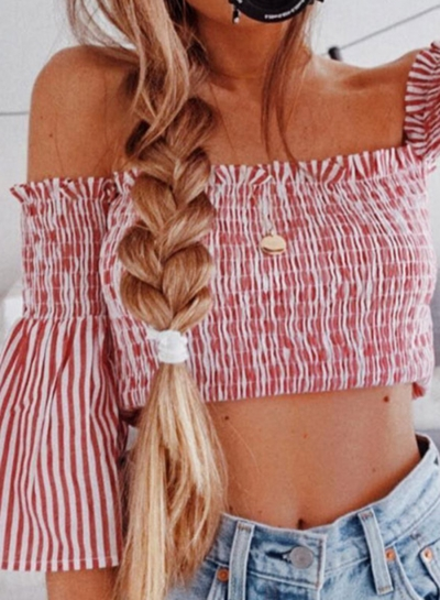 Sexy Striped Slash Neck Off The Shoulder Flare Sleeve Smocking Crop Top