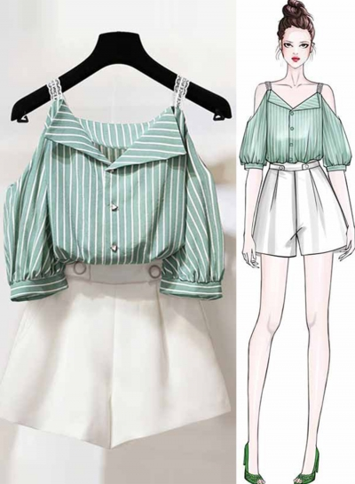 2 Piece Striped Off Shoulder Lantern Sleeve Buttons Top Wide Leg Shorts