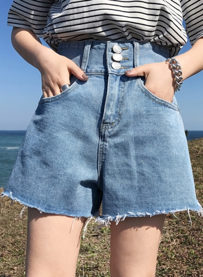 Summer Casual Retro Wash High Waist Burrs Straight Wide Leg Pocket Shorts