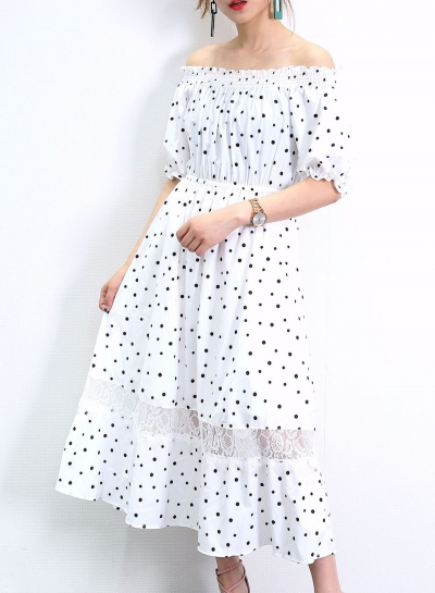 Off Shoulder Polka Dots Short Sleeve Lace Spliced A-line Swing Dress