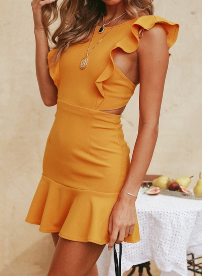 Fashion Round Neck Sleeveless Elastic Waist Ruffle Trim Slim Mini Dress