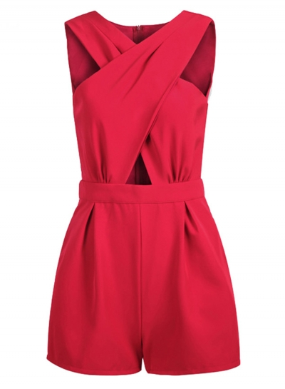 Fashion Sexy Solid Sleeveless Front Cross Pockets Rompers