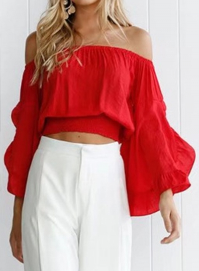 Summer Sexy Off The Shoulder Flare Sleeve Solid Pullover Blouse