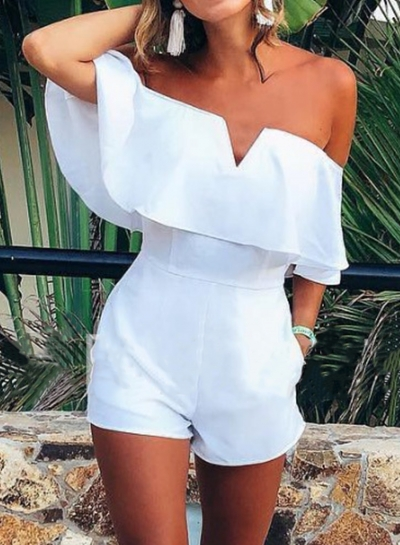 Summer Sexy Brief Off The Shoulder Wide Leg Solid Romper With Pockets