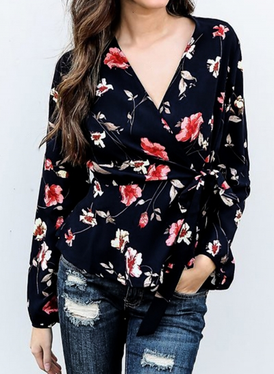 Fashion Casual Floral Printed V Neck Long Sleeve Waist Tie Blouse