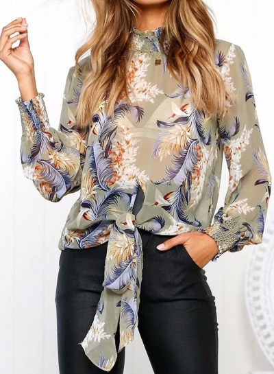 Casual Floral Printed Long Sleeve High Neck Loose Blouse With Tie
