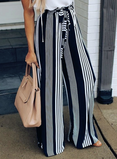 Casual Loose Striped High Waist Straight Wide Leg Pants With Tie