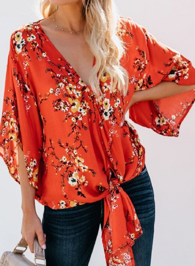 Summer Casual Loose Floral Printed Flare Sleeve V Neck Lace-Up Blouse
